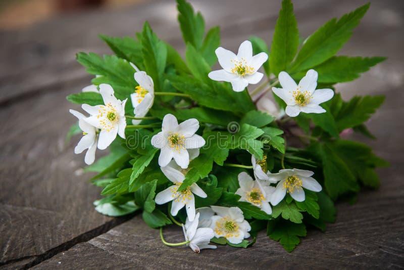 Bukiet dzicy biali kwiaty na nieociosanym drewnianym stole zdjęcia stock