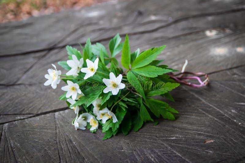 Bukiet dzicy biali kwiaty na nieociosanym drewnianym stole zdjęcie stock