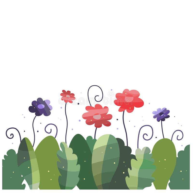Bukiet fantastyczni kwiaty i liście ilustracji