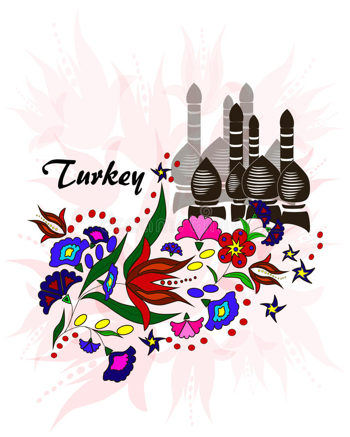 Bukiet kwiaty na tle minarety, Turcja ilustracji