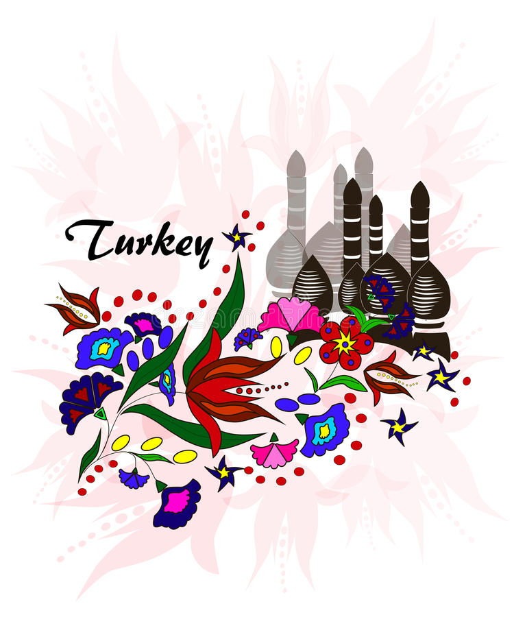 Bukiet kwiaty na tle minarety, Turcja ilustracja wektor