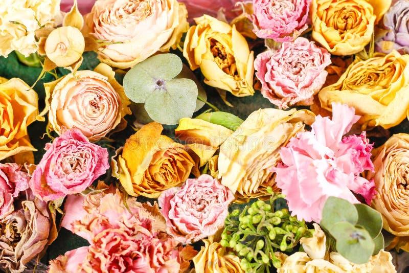 Bukiet kwiaty na wierzchołku zbliżenie barwione wielo- róże zdjęcia stock
