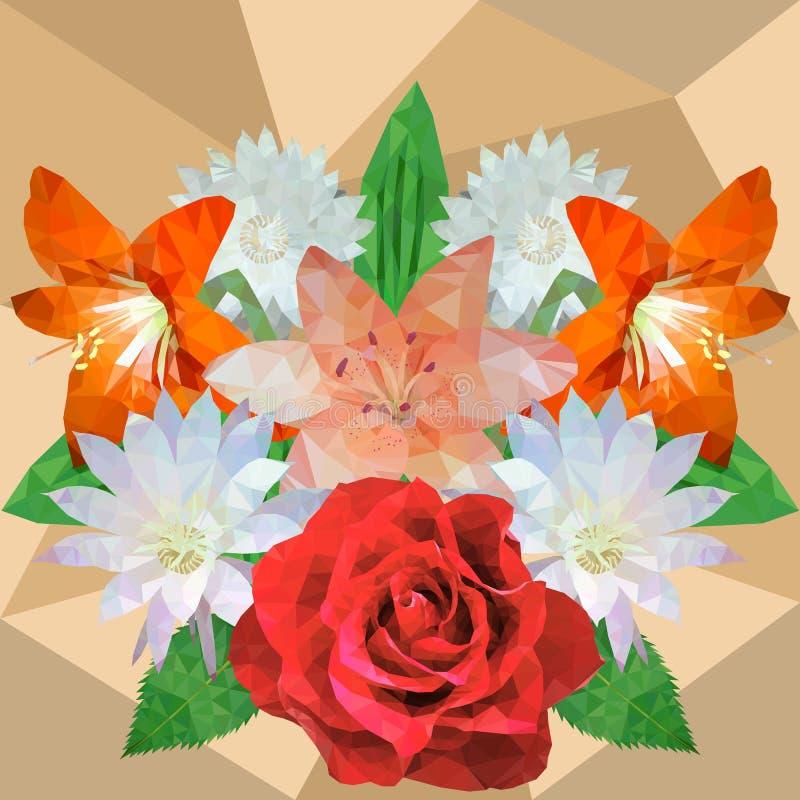 Bukiet kwiaty, wzrastał, leluja, kaktusowy kwiat, hippeastrum, vect royalty ilustracja