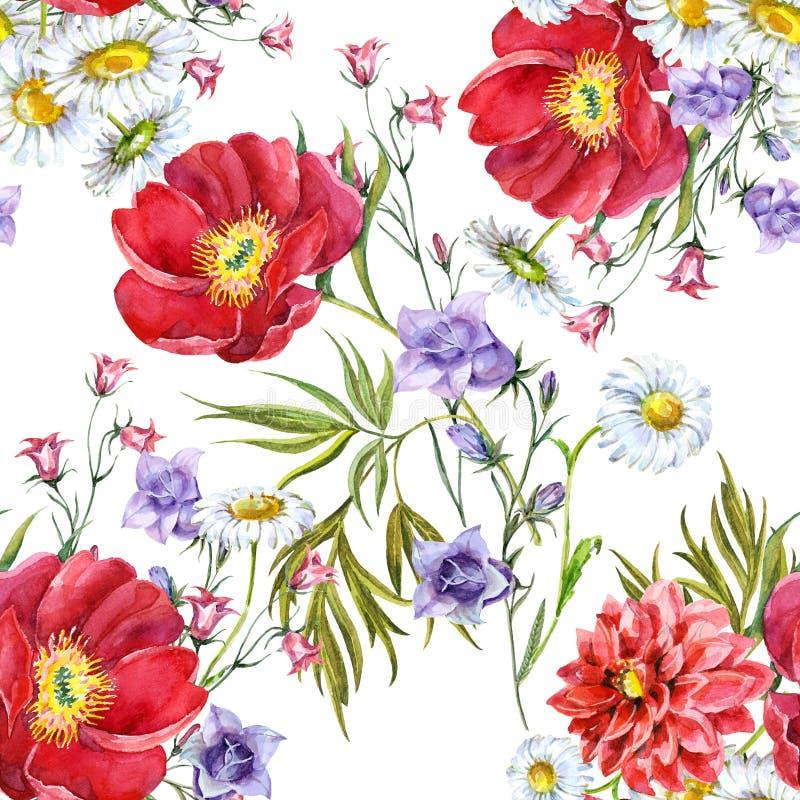 Bukiet kwitnie, biały tło, akwarela, wzór royalty ilustracja