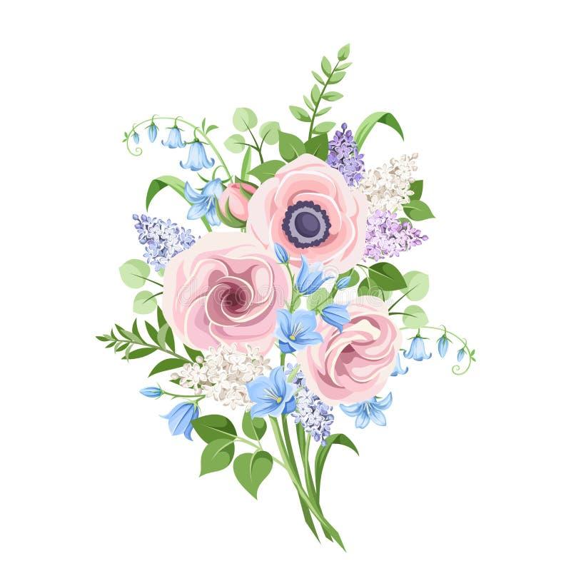 Bukiet menchie, błękit i purpury, kwitnie również zwrócić corel ilustracji wektora ilustracji