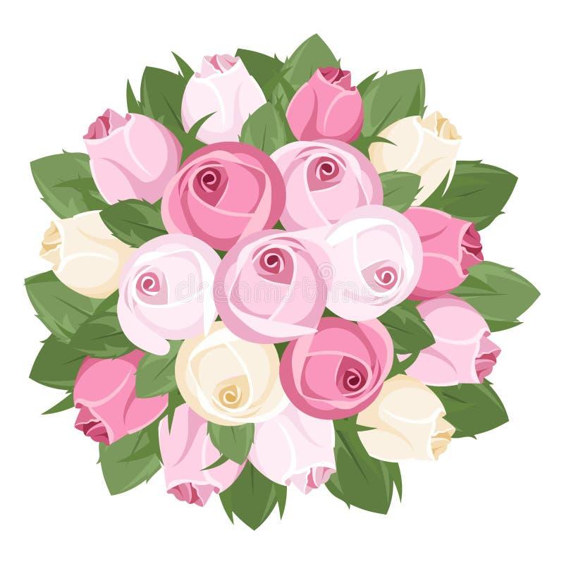 Bukiet menchii i bielu róży pączki. royalty ilustracja