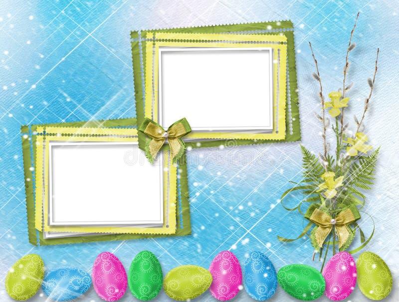 Bukiet miękkie gałązki wierzba i narcyz z Easter jajkiem ilustracja wektor
