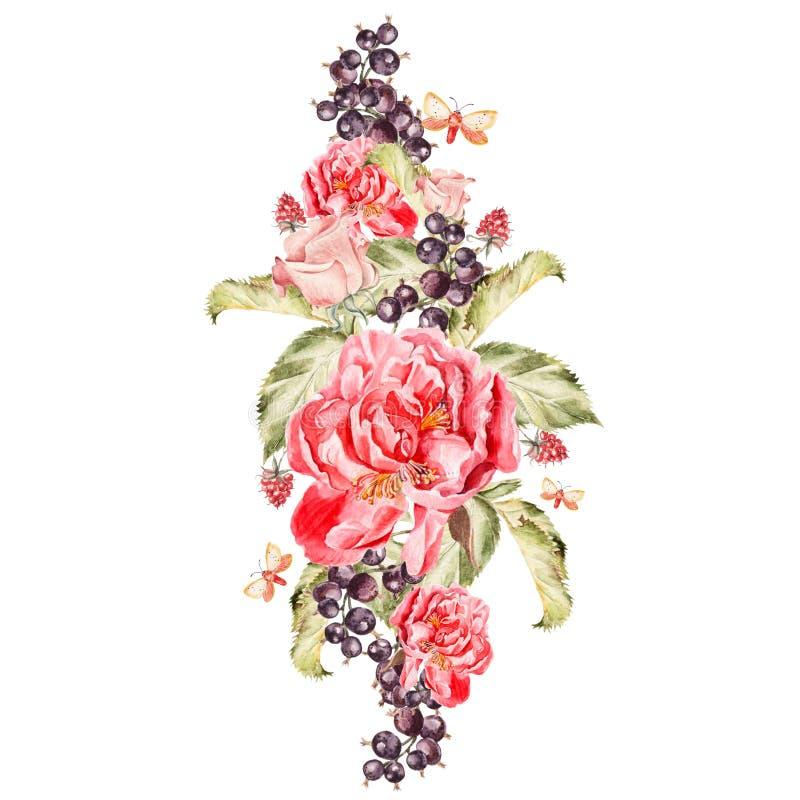 Bukiet peonia kwiaty i jagoda rodzynki akwarela ilustracji