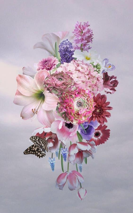 Bukiet piękni ogrodowi kwiaty ilustracji