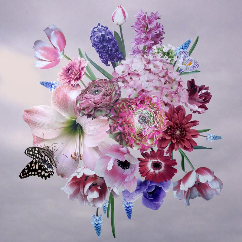 Bukiet piękni ogrodowi wiosna kwiaty plakat ilustracja wektor