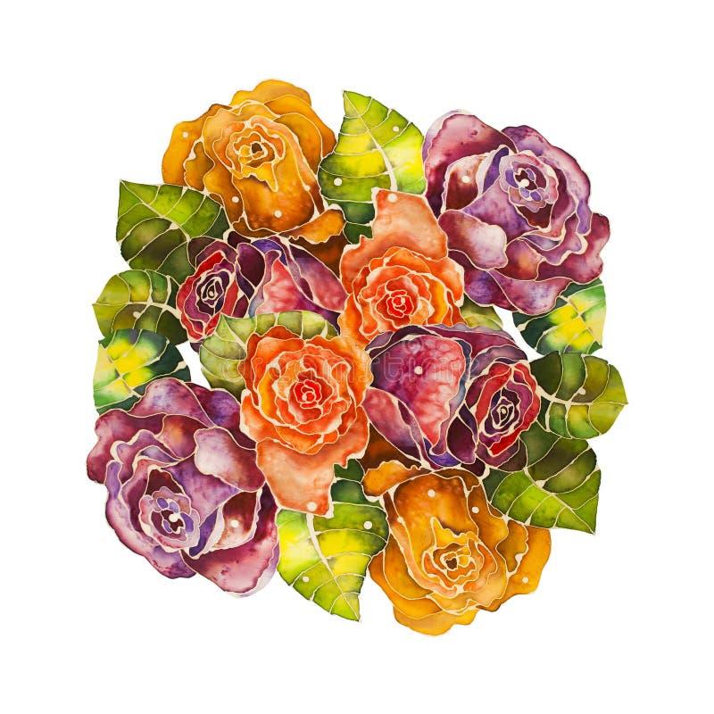 Bukiet róż batik projekta ilustraci przestrzeń ilustracja wektor