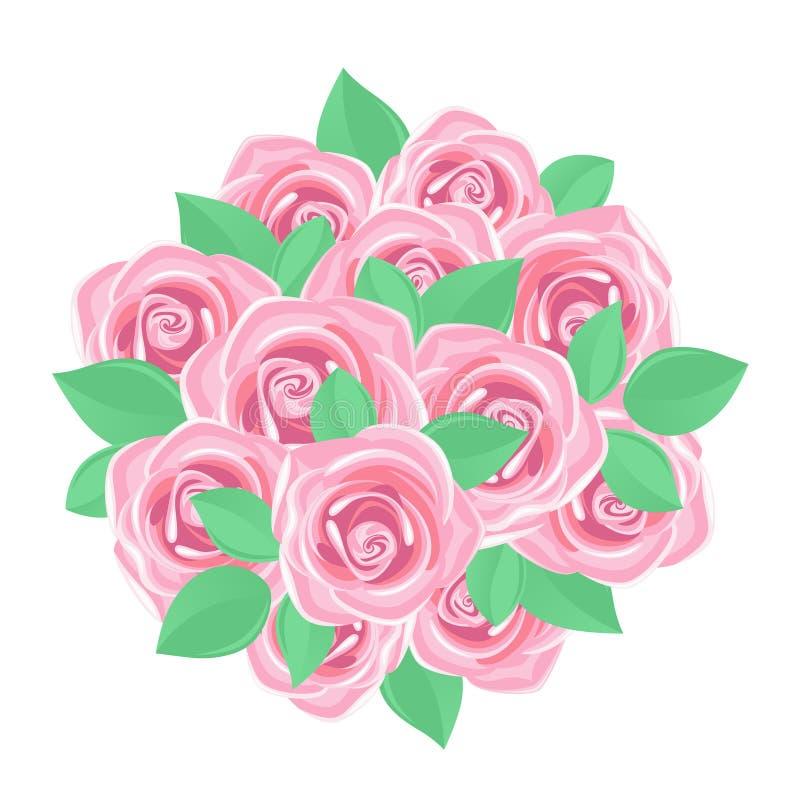 bukiet różowe róże royalty ilustracja