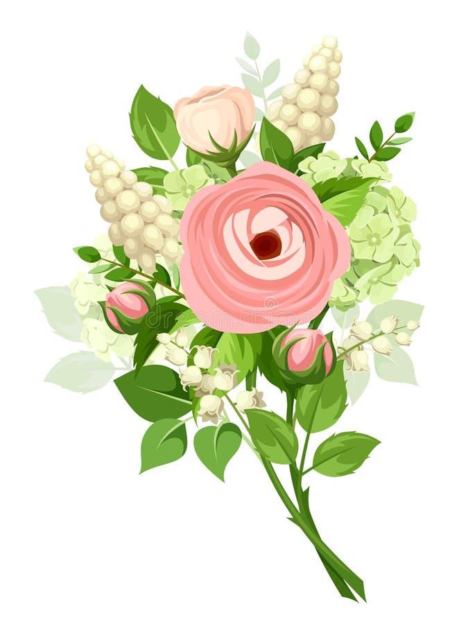 Bukiet różowi i biali kwiaty również zwrócić corel ilustracji wektora royalty ilustracja