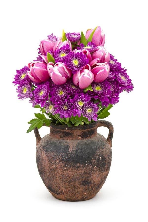 Bukiet robić tulipany i chryzantema kwiaty obrazy royalty free