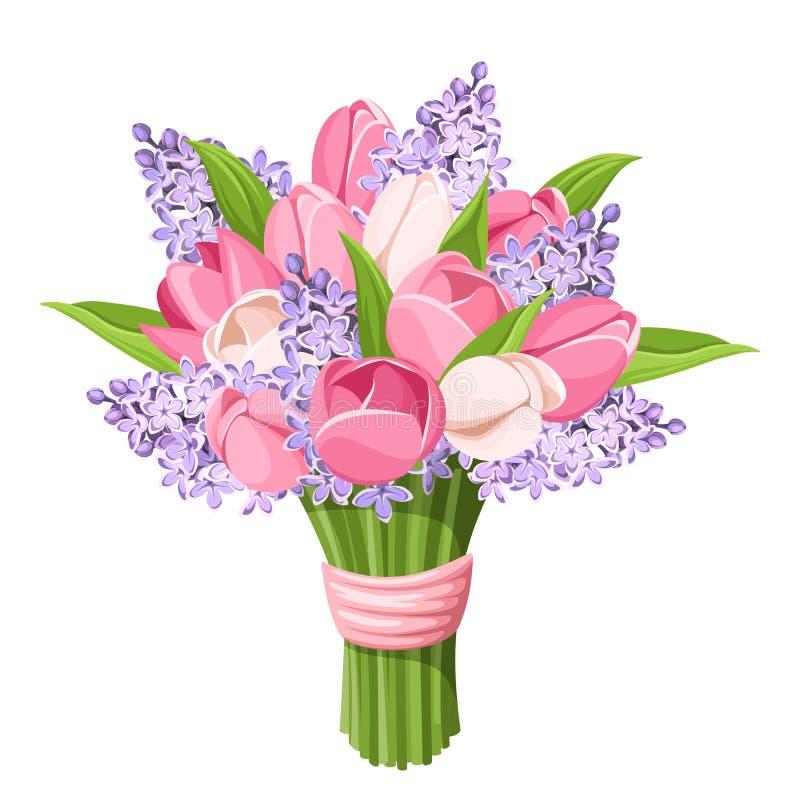 Bukiet tulipany i bzów kwiaty również zwrócić corel ilustracji wektora ilustracji