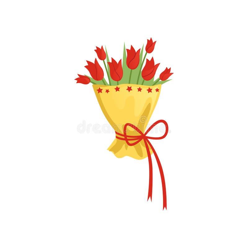 Bukiet tulipany w żółtym opakunku z czerwonym faborkiem piękna wiosna kwiat Kolorowy graficzny element dla kartka z pozdrowieniam royalty ilustracja