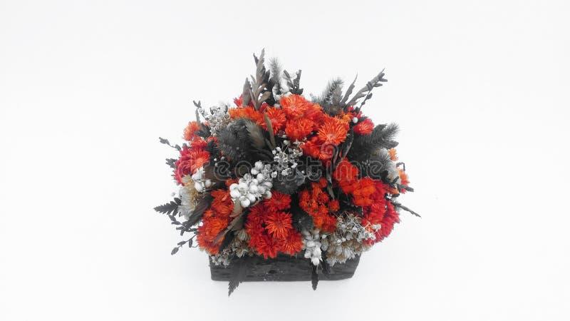 Bukiet wysuszeni kwiaty w kosz barkentynie na białym tle zdjęcia royalty free