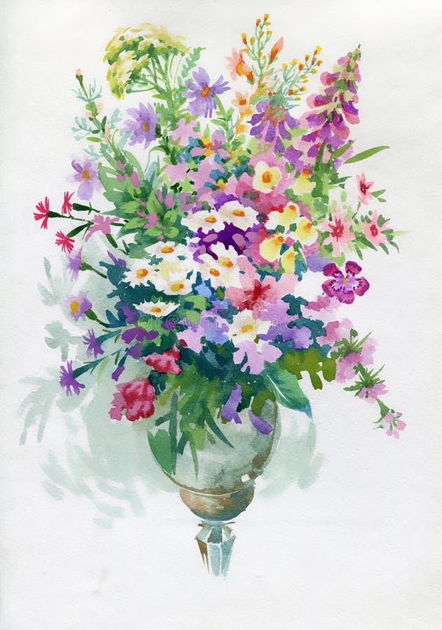 Bukiet z rumiankami i Dianthus kwiatami royalty ilustracja
