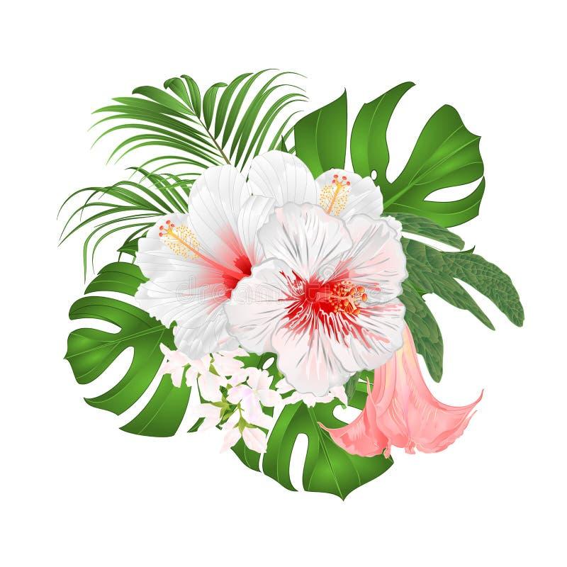 Bukiet z tropikalnych kwiatów kwiecistym przygotowania z pięknym białym poślubnikiem, palmą, filodendronem i Brugmansia rocznika, royalty ilustracja