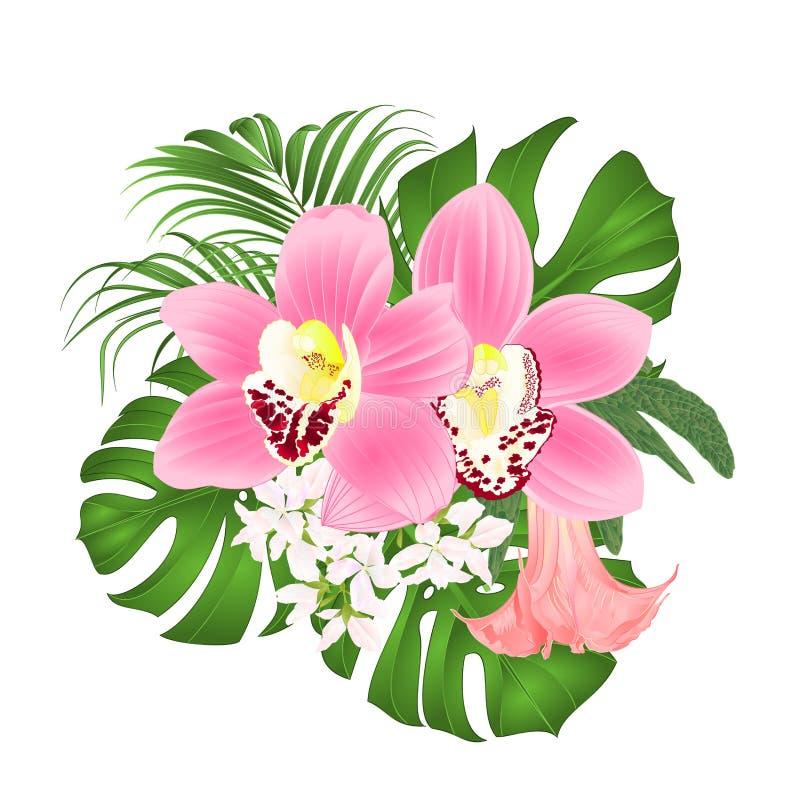 Bukiet z tropikalnych kwiatów kwiecistym przygotowania z pięknymi różowymi orchideami cymbidium, palma, filodendron i Brugmansia  royalty ilustracja