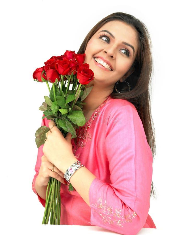 bukieta czerwieni różana kobieta zdjęcia stock