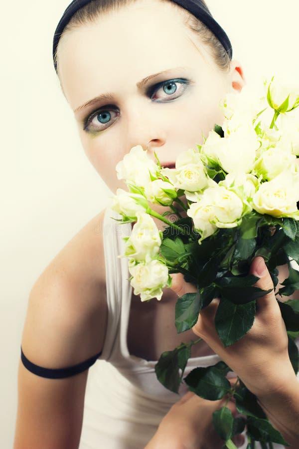 bukieta dziewczyny róż biel potomstwa obrazy stock