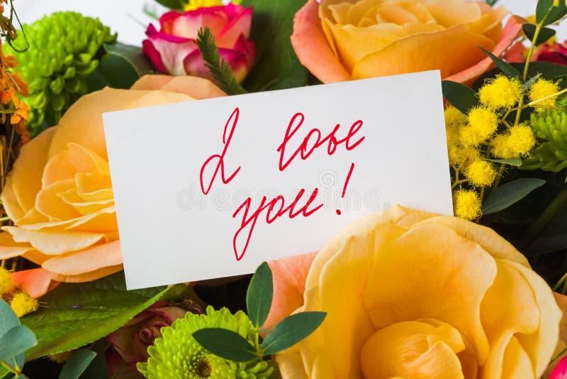 bukieta karciane powitania róże zdjęcie stock