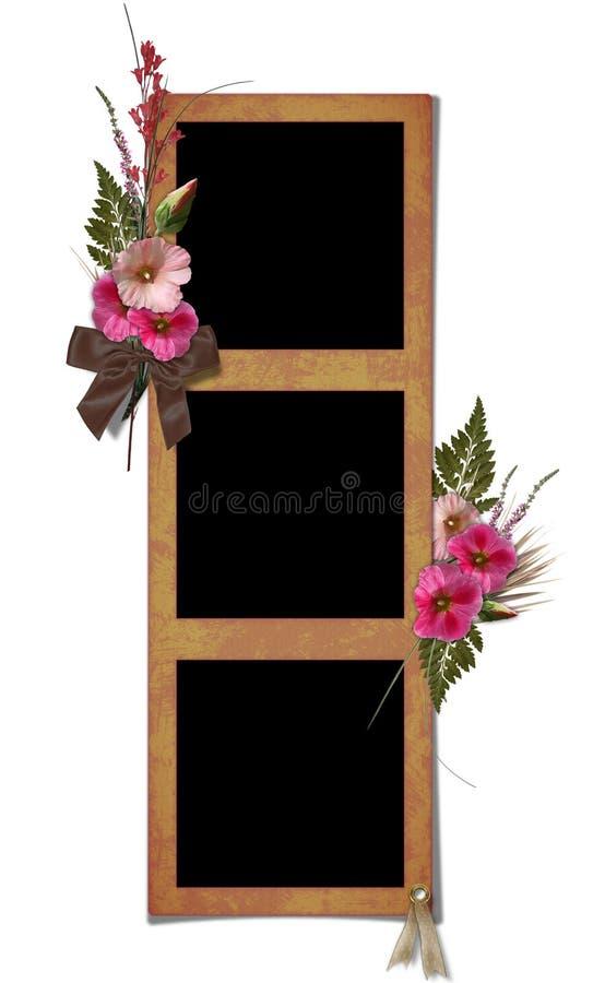 bukieta kwiatów ramowi hollyhocks royalty ilustracja