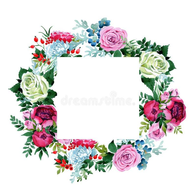 Download Bukieta Kwiatu Wianek W Akwarela Stylu Ilustracji - Ilustracja złożonej z farba, wiecznie: 106918972