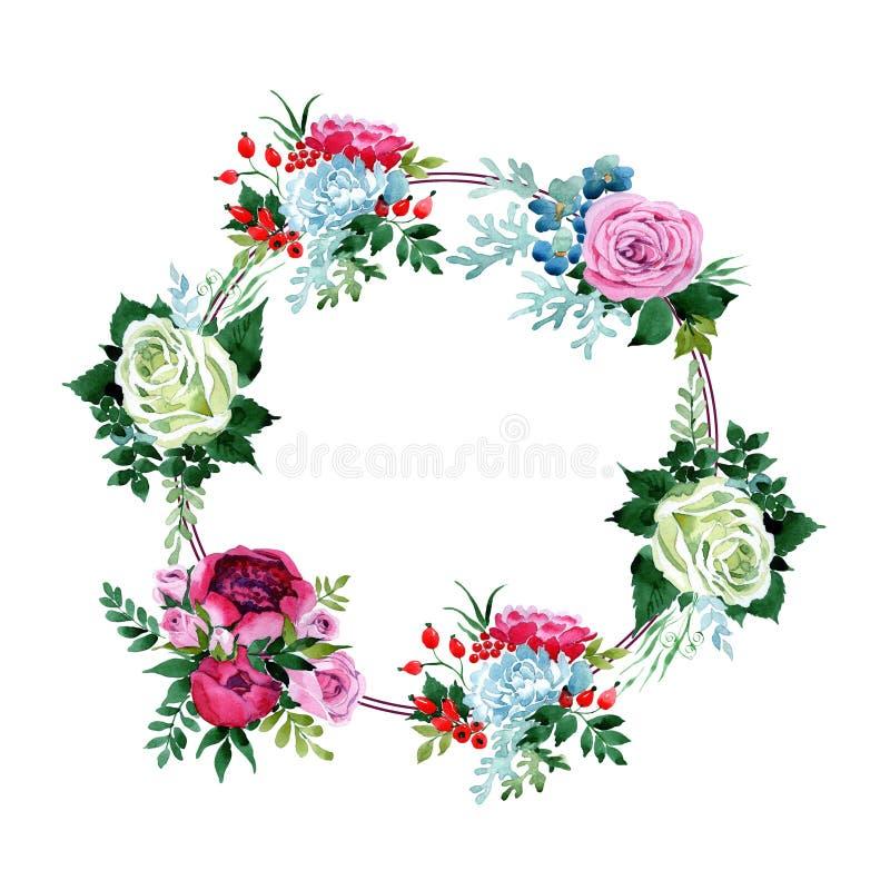 Download Bukieta Kwiatu Wianek W Akwarela Stylu Ilustracji - Ilustracja złożonej z bukiet, kolorowy: 106919875