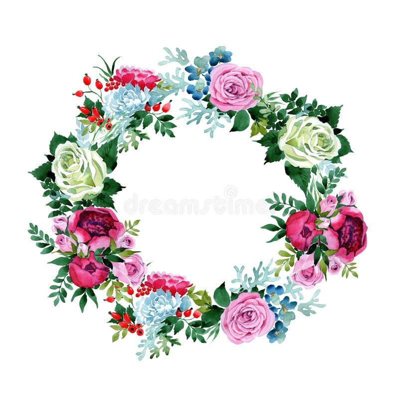 Download Bukieta Kwiatu Wianek W Akwarela Stylu Ilustracji - Ilustracja złożonej z kwiecisty, sylwetka: 106919945