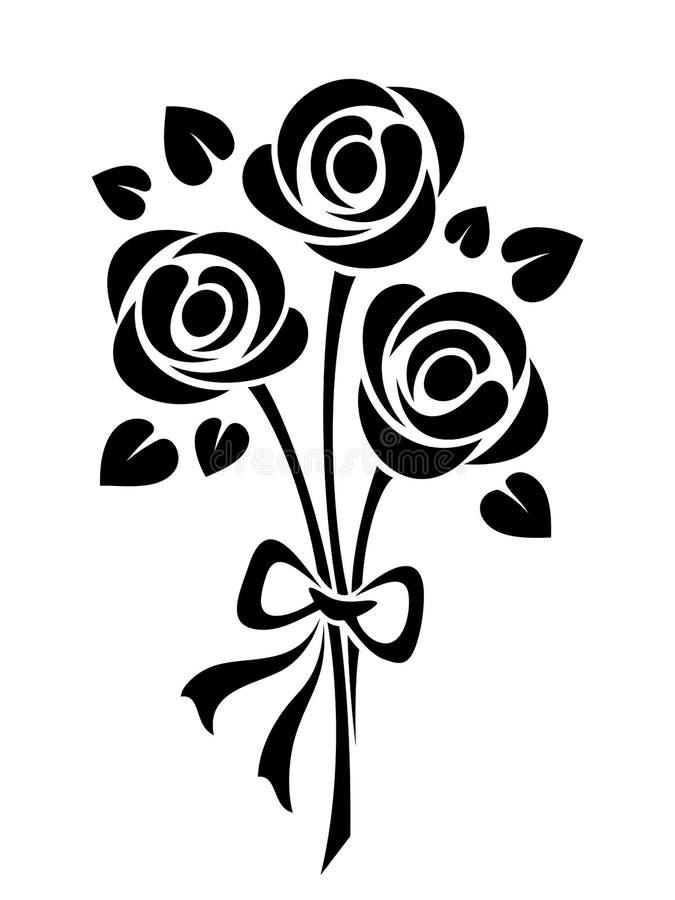bukieta róż odgórny widok Wektorowa czarna sylwetka ilustracja wektor