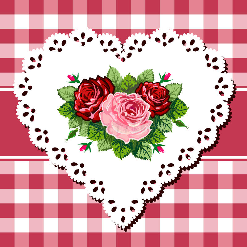 bukieta serca koronki różany rocznik ilustracji