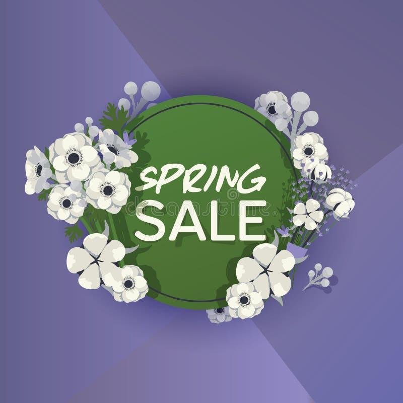 Bukieta wektorowy piękny kwiecisty tło z okwitnięcie wiosną kwitnie ilustracyjnego kwiatonośnego tapetowego kwiaciastego zakupy ilustracja wektor