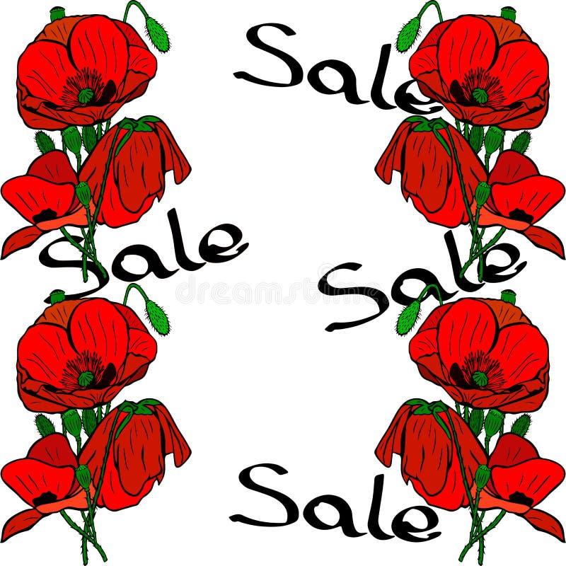 Bukiety czerwoni maczki i wpisowa sprzedaż ilustracja wektor