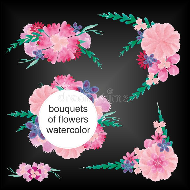 Bukiety kwiat akwarela zdjęcia royalty free