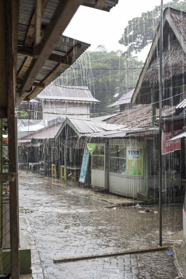 在Bukit Lawang,印度尼西亚的夏天雨 免版税库存图片