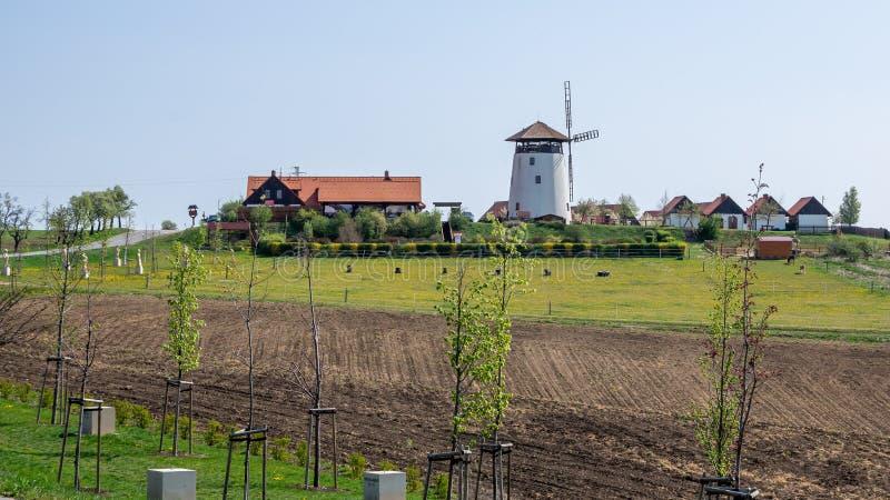 Bukovany, Republika Czeska / Morawy Południowe - 18 kwietnia 2020 r.: Burkowska młyna wiatrowa i sadownia z polą zdjęcia royalty free