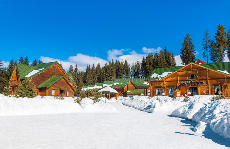Bukovel winter ski resort in Eastern Europe, Ukraine, Carpathian royalty free stock photos