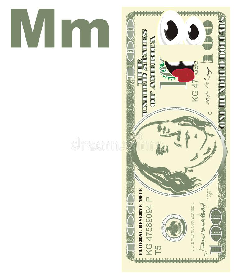 Buks y letras felices m stock de ilustración