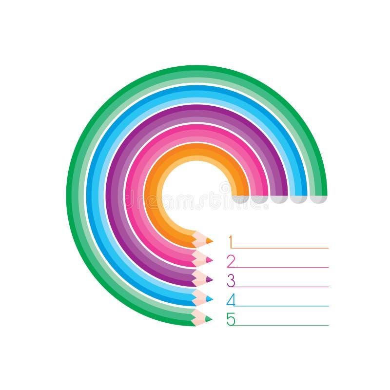Buktade den grafiska mallen för modern information med 5 färgrika blyertspennor, stock illustrationer