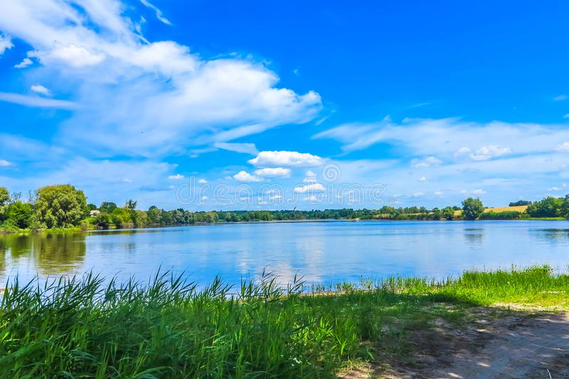 Buky Canyon Landscape 01. Zhashkiv City Cherkasy Oblast Lake View with Blue Sky White Clouds Background royalty free stock image