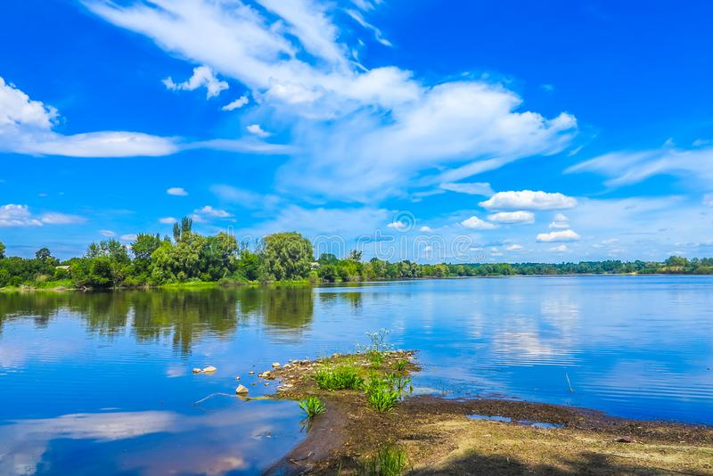 Buky Canyon Landscape 02. Zhashkiv City Cherkasy Oblast Lake View with Blue Sky White Clouds Background stock photography