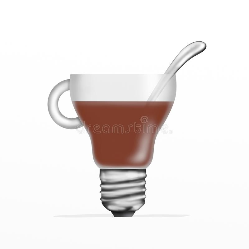 Bulb with black coffee vector illustration