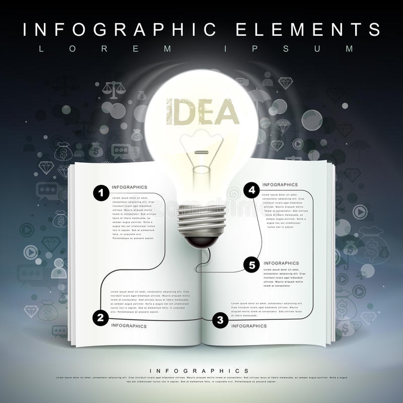 Bulb and book flow chart infographics. Creative template with a bulb and a book flow chart, can be used for infographics and banners or posters, concept vector vector illustration