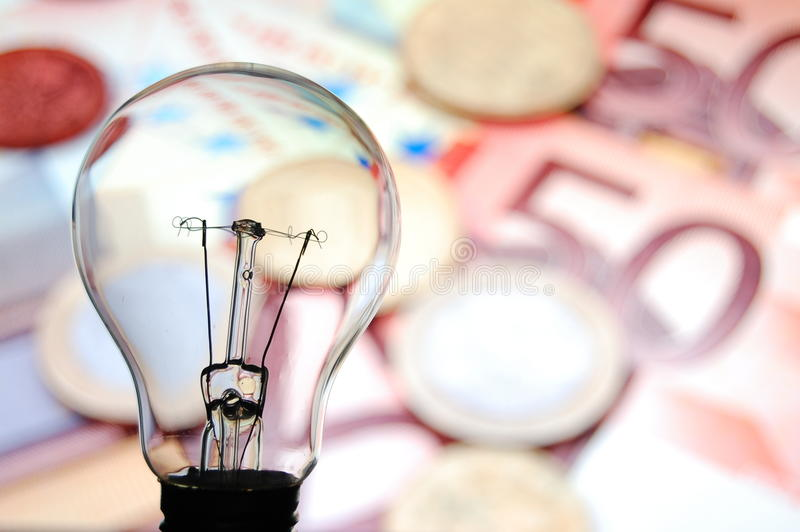 Bulb with business background stock photos