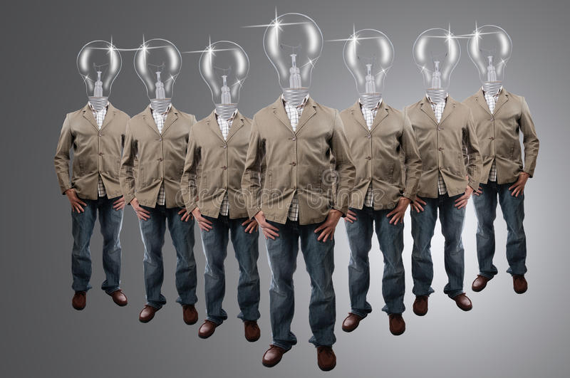 Download Bulb Businessman Group In Studio Stock Image - Image: 26841607