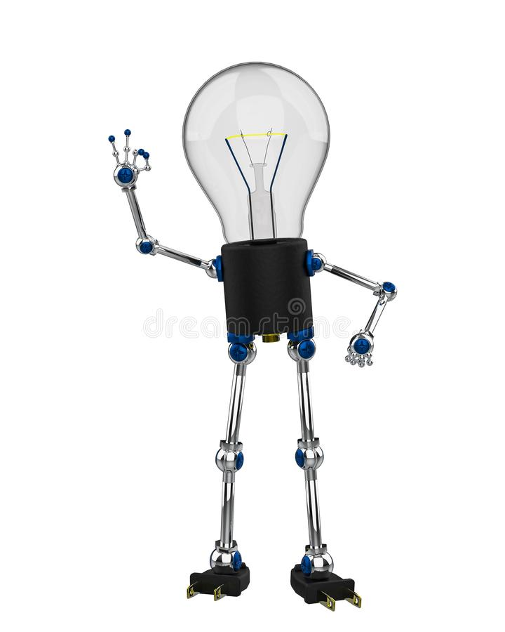 Bulb character in a white background stock illustration