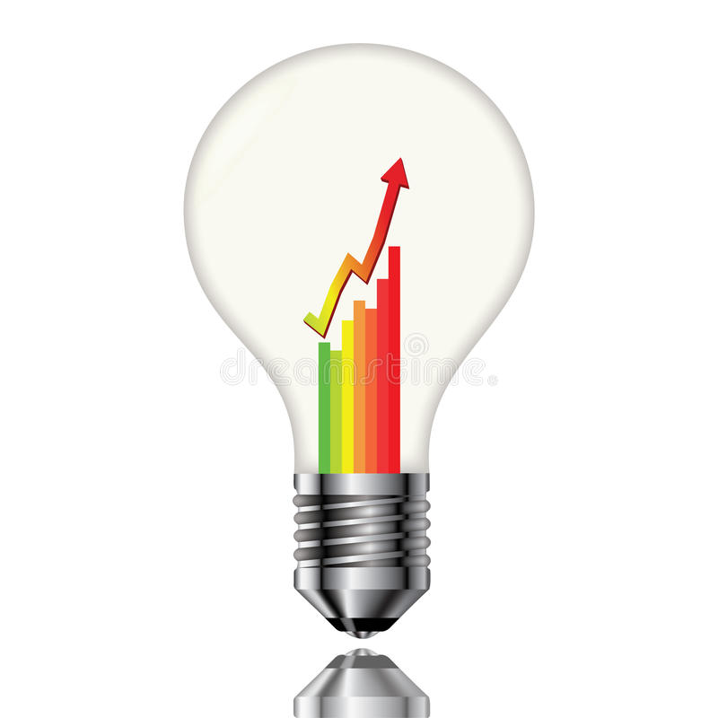 Bulb with a chart. Of electricity consumption stock illustration