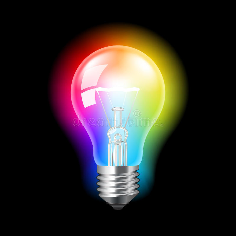 Bulb with colorful light vector background. Bulb with colorful light, creative concept photo realistic vector background stock illustration
